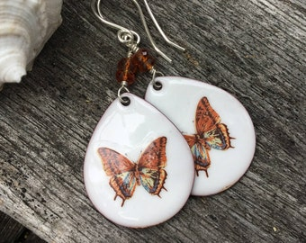 Hand Made Enamel Butterfly Earrings, Torch Fired Enamel, Sterling Silver, Nature Inspired