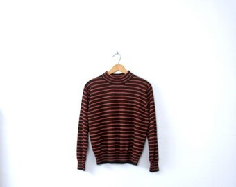 Vintage 90's black and red striped sweater, long sleeved, size small