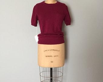 SALE...Perry Ellis wool crop top sweater | plum magenta knitted pocket top