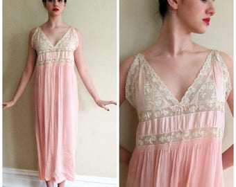 Vintage 1920s 1930s Pink Silk Chemise with Cream Crochet Lace / 20s 30s Nightgown Slip Dress Lingerie / Large