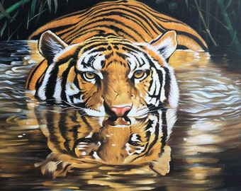 Tiger oil painting on canvas, nature scene, 24x32 inch, 100% money back guarantee