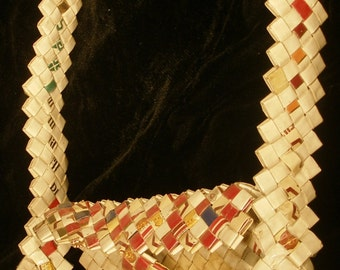 Art Purse made of Cigarette Packs handmade tramp jailhouse arts and crafts red white