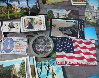 Postcards vintage lot of postcards of the USA plus small ashtray of Williamsburg VA; postcards of northeast, southeast, midwest, western US