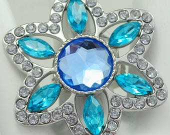 Flower Statement Ring/Blue/Turquoise/Rhinestone/Spring/Summer Jewelry/Gift For Her/Adjustable/Under 20 USD