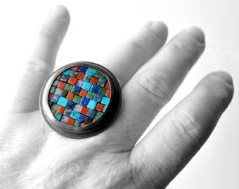 Mosaic Ring - Colorful Mosaic Ring - Size 7 1/2 - Statement Ring - Sculptural Ring - Gemstone Silver Ring - Mosaic Jewelry - Art Jewelry