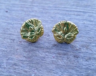 Gold Mardi Gras Mask Bead Earrings - Post or Clip on
