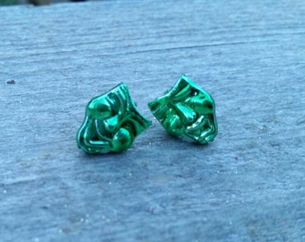 Green Mardi Gras Drama Mask Happy and Sad Bead Earrings - Post or Clip on