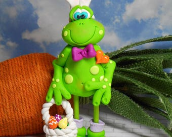 FREE SHIPPING!  Polymer Clay Tall Frog in Bunny Ears Easter basket eggs Clay Babies Helen Terlalis Dorn, spring