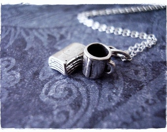Tiny Silver Book and Coffee Cup Necklace - Sterling Silver Book and Coffee Cup Charm on a Delicate Sterling Silver Cable Chain or Charm Only