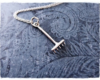 Silver Rake Necklace - Sterling Silver Rake Charm on a Delicate Sterling Silver Cable Chain or Charm Only