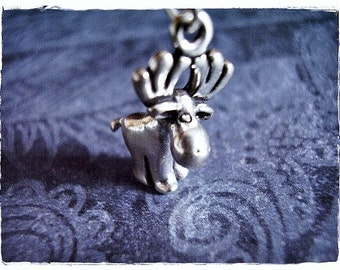Silver Moose Necklace - Sterling Silver Moose Charm on a Delicate Sterling Silver Cable Chain or Charm Only