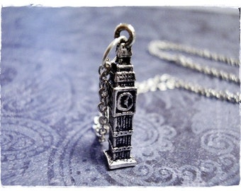 Silver Big Ben Necklace - Antique Pewter Big Ben Charm on a Delicate Silver Plated Cable Chain or Charm Only