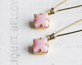 Small Pale Pink Rhinestone Dangle Earrings on Antiqued Brass Hooks, Light Pink Earrings (Vintage Glass)