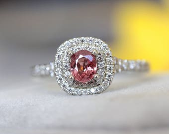 RASPBERRY PADPARADSCHA Sapphire white gold ring, double halo, engagement ring, diamond halo ring, pink sapphire