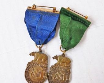 PAIR Vintage 1960s SoCal SoCal School Band Orchestra Medalas