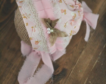 Newborn Spring Fabric Bonnet with Silk Bow and Chiffon Ties - Newborn Photography Prop