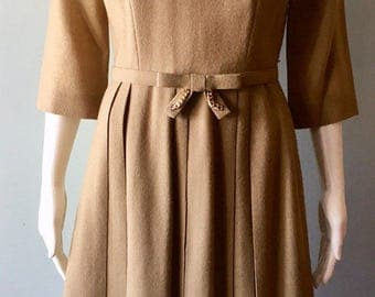 1950s Wool Bow Belt Dress Size Medium