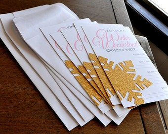 Pink and Gold Blank Winter Wonderland Invitations and Envelopes. Set of 5. Snowflake Invites ...