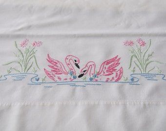 Pillowcase Pair Embroidered Pink Swans Vintage Cotton Wabasso