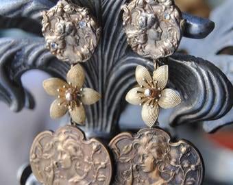 Nouveau Ladies--Antique French Art Nouveau Button Gold Filled Flowers Vintage Rhinestone Nouveau Ladies Post EARRINGS