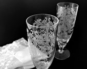 Fluted Champagne Glasses Fancy Vintage Etched Stemware 2 Wedding Toasting Glasses Chic Old Fashioned Wedding Decor