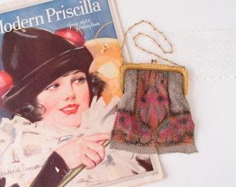 1920s Whiting & Davis colorful Art Deco mesh Handbag Purse