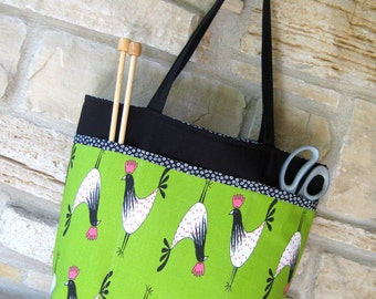 Medium Tote Bag - Knitting Tote Bag - Market Bag - Rooster Print Bag - Open Top Tote - Shoulder Bag - Pink and Green - Farm Print Tote Bag