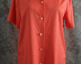 Sz S-M Red Checkered Blouse Tee Top