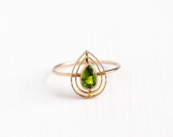 Antique 10k Rosy Yellow Gold Simulated Peridot Stick Pin Conversion Ring - Vintage Art Deco Size 8 3/4 Teardrop Fine Green Glass Jewelry