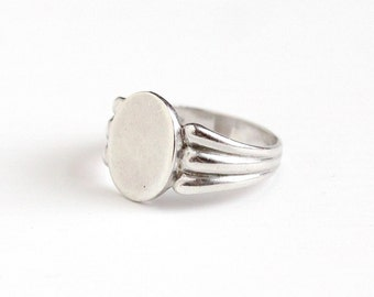 Vintage Art Deco Sterling Blank Signet Ring - Size 7 1940s Signed Clark & Coombs Blank Monogrammed Classic Personalize Initial Jewelry