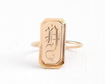 Sale - Antique 10k & 14k Rose Gold Initial Y Ring - Size 7.5 Early 1900s Victorian Fine Stick Pin Conversion Monogrammed Signet Jewelry