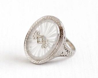 Sale - Antique 14k White Gold Rock Crystal Diamond Ring - Vintage 1920s Size 5 Filigree Art Deco Camphor Glass Style Fine Statement Jewelry