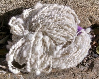 handspun SAMOYED dog brushings 105 yards bulky spun yarn white Garden Party Fibers soft and warm