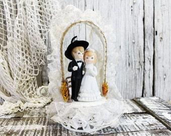 Cowboy Wedding Cake Topper, Vintage Wedding Cake topper