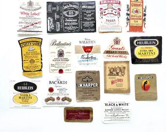 16 Airplane Bottle Liquor Labels