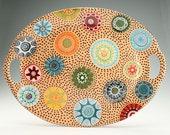Large Serving Platter, Terra Cotta Redware Platter, Large Ceramic Platter, Dinnerware, Decorative Tableware, Boho Christmas