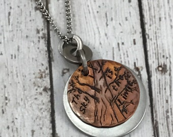The Sky is the Limit Tree Handstamped Necklace, nature jewelry, organic, natural, copper and stainless steel