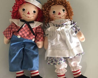 Raggedy Ann and Andy Contemporary Cloth Dolls/ Eileen's Attic/ Storybook Doll /PAIR/Cottage Made Dolls/By Gatormom13