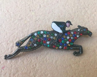 RARE Sale Vintage Art Deco Jockey Horse Brooch Multicolor Rhinestone and Enamel