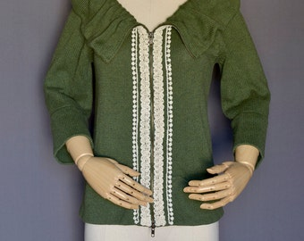 Eco Upcycled Green Sweater Cardigan