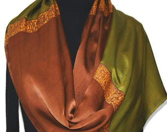 Silk Scarf. Hand Painted Silk Shawl. Antique Green Brown Hand Dyed Silk Scarf. TUSCANY SUMMER 14x72.Birthday Gift Scarf. Gift-Wrapped Scarf
