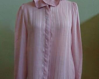 "Vintage 80's La Blouse Semi-Sheer Rose Long Sleeved Blouse Vertical Woven Stripes Lightly Ruffled Collar Bust 39"" Waist 39"""