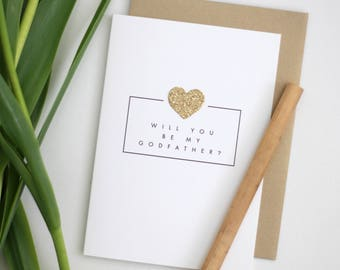 Will you be my Godfather? / Godfather card with gold glittered heart / baptism godfather / christening / asking godparents card / godfather