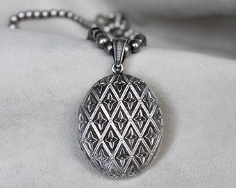 Victorian Silver Locket on Fine Silver Chain with Beads