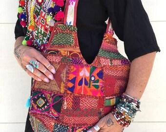 Vintage handmade Banjara Bag,Ethnic Embroidered Fabric Tote Bag,Tribal Bohemian Purse,Multi color embellished Banjara bag model -F