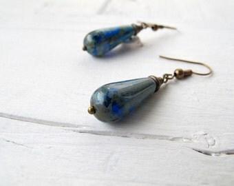 Cobalt Blue Teardrop Earrings, Czech Picasso Glass Jewellery, Boho Chic Dangle Earrings, Bohemian Bijoux