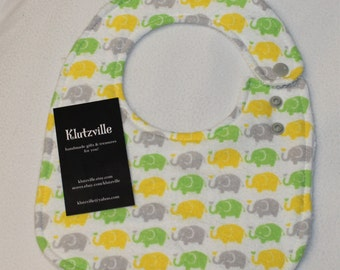 Yellow Lime Grey Elephants Print Cotton Side Snap Terry Bib S
