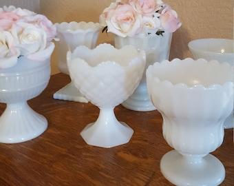 6 White Milk Glass Compotes - Wedding Decor - Table Centerpieces - Oak Hill Vintage Lot B