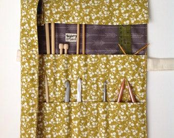 Knitting Needle Case, Tall Knitting Needle Roll, Crochet Hook Roll, Crochet Hook Organizer, Knitting Needle Bag, Needle Case, Knitting Bag