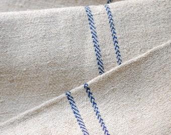 VINTAGE European Grain Sack with BLUE stripes - small size